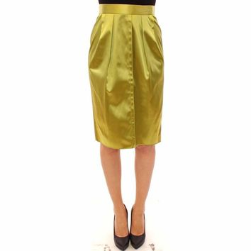 Dolce & Gabbana Green Stretch Knee High Pencil Skirt