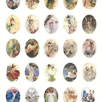 fairy fairies art illustrations clip art  digital download collage sheet 30mm x 40mm ovals pendants printable graphics images