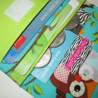 Owl Wallet, Wallet, Women's Wallet, Card Wallet, Change Purse, Cash Wallet, Fabric Wallet, with Owls, Made To Order