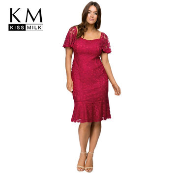 Kissmilk Big Size New Fashion Women Clothing Sexy Corded Lace Flounce Dress Solid Short Sleeve Plus Size Dress 3XL 4XL 5XL 6XL