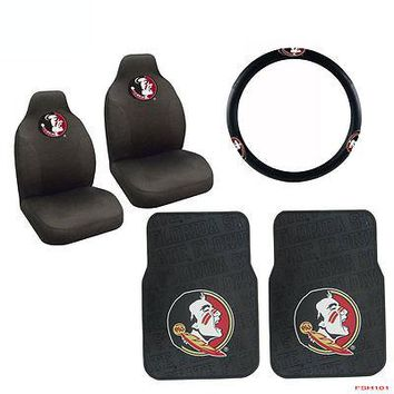 Licensed Official NCAA Florida State Car Truck Front Seat Covers Floor Mats Steering Wheel Covers