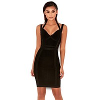 Darcy Black V deep bodycon dress