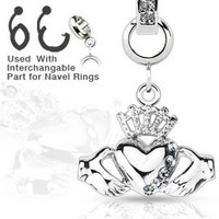 Add-On Clear GemCladdagh Crown Heart Dangle Charm for Navel Belly Button Rings, Dermal Anchors and More
