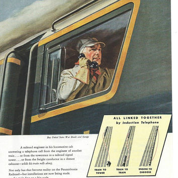 1945 Pennsylvania Railroad Vintage Locomotive Magazine Ad Art-Retro Ads For Framing-Print Ads-Train Art Collectible Advertisement