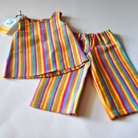Rainbow striped doll pajamas, American girl doll clothes, 18 inch doll clothes.  Doll pajamas, doll sleepwear