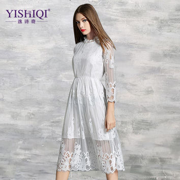 New 2016 Summer Fashion Hollow Out Black / White Lace Dress Elegant Vintage Party High Quality Women Long Sleeve Casual Dresses
