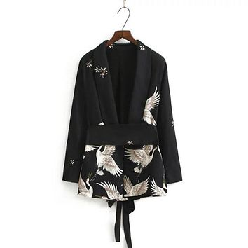 Stylish Floral Cranes Pattern Sashes Blazers Suit Slim Jacket Long Sleeve Outerwear OL Women Cardigan Coat Tops Brand SY17-03-37
