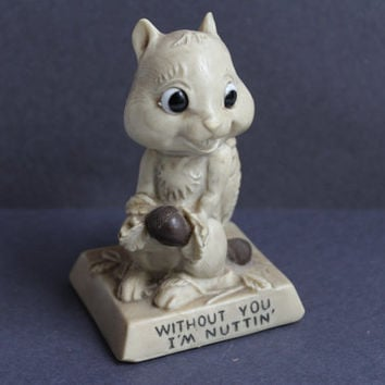 "SQUIRREL FIGURE, Vintage ""Without You I'm Nuttin' "" Squirrel Figurine, resin figure, Valentine's day gift, gift for her, vintage gift"