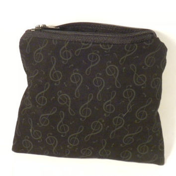 Music change purse zipper pouch treble clef by redmorningstudios