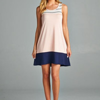 Sail off into the Sunset Dress - Peach and Navy