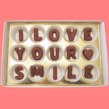 I Love Your Smile Large Milk Chocolate Letters-Valentines Gift for Her Him-Made to Order