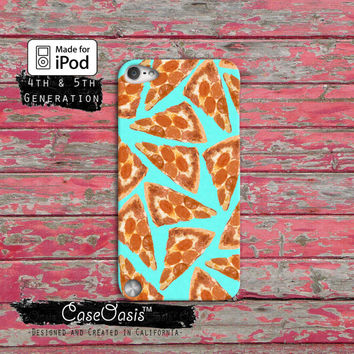 Pizza Pattern Pepperoni Funny Pop Art Blue Tumblr Custom Case iPod Touch 4th Generation or iPod Touch 5th Generation Rubber or Plastic Case