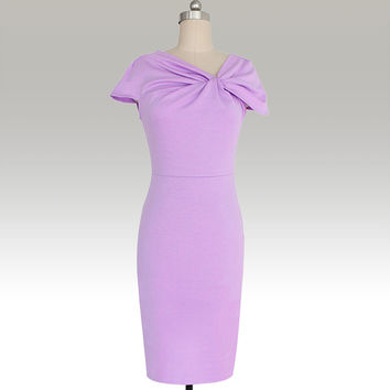 Purple Twisted V-Neck Midi Dress