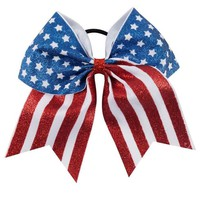 7'' New Design American Flag Glitter Cheer Bow Red White Striped Blue White Star Large Hair Bow For Girl Kids Hair Accessories