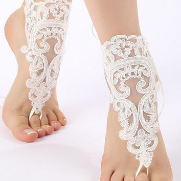 Free Ship ivory flexible ankle sandals,  lace Barefoot Sandals, french lace, Beach wedding barefoot sandals