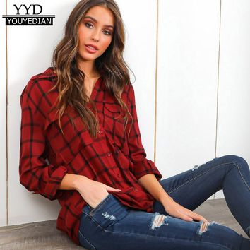 Spring Autumn 2018 Women Lattice Plaid Shirts Women Long Sleeve Turn-down Collar Button Pocket Blouses Tops For Women*1211