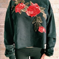 Black Rose Emboidered Cropped Sweatshirt