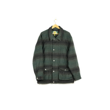 CABELAS wool alpaca flannel hunting jacket / LIKE NEW / green / outdoors / outerwear / mens large