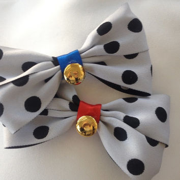 Pongo and Perdita 101 Dalmatians Polka Dotted Black and White Bows by Design Bowtique