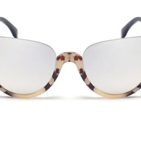 Butterfly Half Rimless Embellished Cat Eye Sunglasses