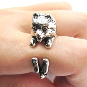 Realistic Pomeranian Pom Puppy Dog Shaped Animal Wrap Around Ring in Shiny Silver