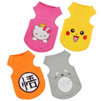 Hot Pet Costume Puppy Dog Clothes Cute Cartoon Printed Summer Mesh Breathable Cat Dog T-shirt Chihuahua Yorkshire Vest Apparel