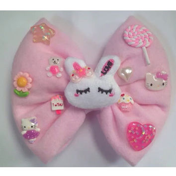 Giant Plush Hair Bow Rabbit Bunny Pastel Pink Fairy Kei Kawaii Sweet Lolita Candy Lollipop Star