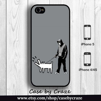 Banksy Walk the Dog Keith Haring iPhone 4 iPhone 4S Case Grafitti Pop Artist Designer iPhone 5 Back Cover --000081