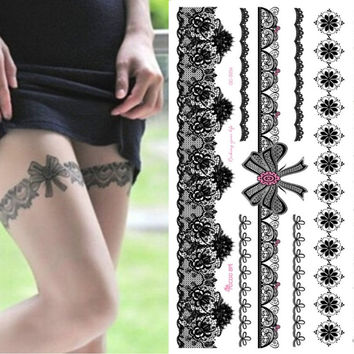1Pcs Waterproof Temporary Tattoo Sticker on Body Leg Water Transfer Sexy Lace Stocking Fake Flash Tattoo for Girl Women