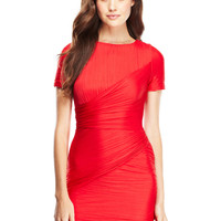 HALSTON HERITAGE Vermillion Short Sleeve Pleated Jersey Dress