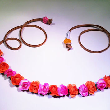 Mini Pink and Orange Rose Flower Headband, Flower Crown, Flower Halo, Festival Wear, EDC, Coachella, Ultra Music Festival, Rave