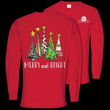 Southern Couture Preppy Merry & Bright Holiday Long Sleeve T-Shirt