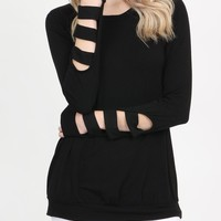 Long Ladder Sleeved Knit Top