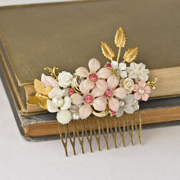 Bridal Hair Accessory - Spring Wedding Hair Comb, Pink Flowers Gold Leaves Vintage Shabby Chic Hair Comb, Something Old Bridal Hair Comb