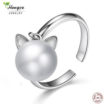 925 Sterling Silver Cute Cat Real Natural Freshwater Pearl Ring For Women