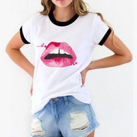 Pop Pink Lips Print T-Shirt