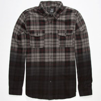 Blue Crown Dip Dye Mens Flannel Shirt Charcoal  In Sizes