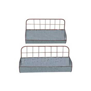 Galvanized Metal Wall Iron Shelves With Wired Back, Set of 2, Gray