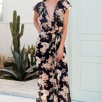 Floral Ruffled Chiffon Side Slit Jumpsuit