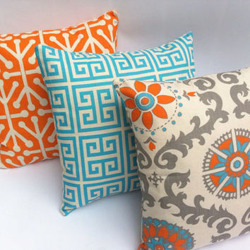 Turquoise and Orange Decorative Throw Pillow Covers Set of Three Turquoise Orange Pillow Blue and Orange Pillow 18x18 Inches