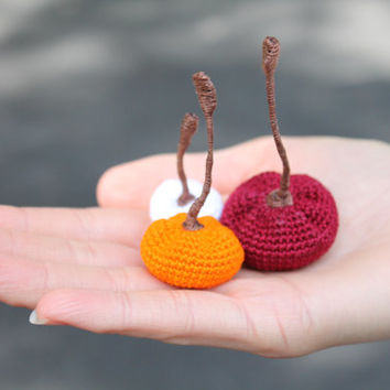 Tiny Crochet Pumpkins (Set of 3): Halloween, Fall Decor, Autumn, Little Trinket
