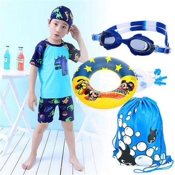 DCCK7N3 2017 Promotion Boys Character Polyester New Children's Swimsuit Boy Swimming Suit Sleeved Sunscreen