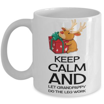 Best Funny Keep Calm Grandpa Christmas 2016 Cup Gift - 11OZ Pencil Santa Mug - Perfect Birthday, Men, Women, Gift for Him & Her, Grandparents - Inspirational Holiday Reindeer Cup - Cute 11oz Mug For Hot Cocoa, Coffee & Tea