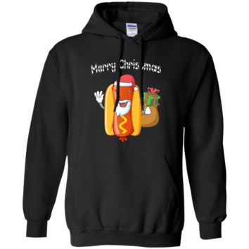 Merry Christmas Hot Dog Santa Ugly Sweater Funny Xmas Gift G185 Gildan Pullover Hoodie 8 oz.