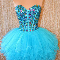 Charming Sweetheart Mini Blue Prom Dress / Homecoming Dress