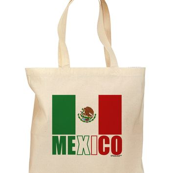 Mexican Flag - Mexico Text Grocery Tote Bag by TooLoud