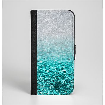 The Tiffany Blue & Silver Glimmer Fade Ink-Fuzed Leather Folding Wallet Case for the iPhone 6/6s, 6/6s Plus, 5/5s and 5c