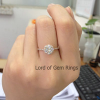 Round Moissanite Engagement Ring Pave Diamond Wedding 14K Rose Gold 6.5mm