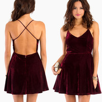 Short Burgundy Velvet Dress With A Crossed Open Back — Bib + Tuck