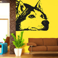 Wall Decal Vinyl Sticker Decals Art Decor Design Husky Funny Dogs Puppy Pets Animals Friend Dorm Bedroom House Style Kids Nursery (r1016)